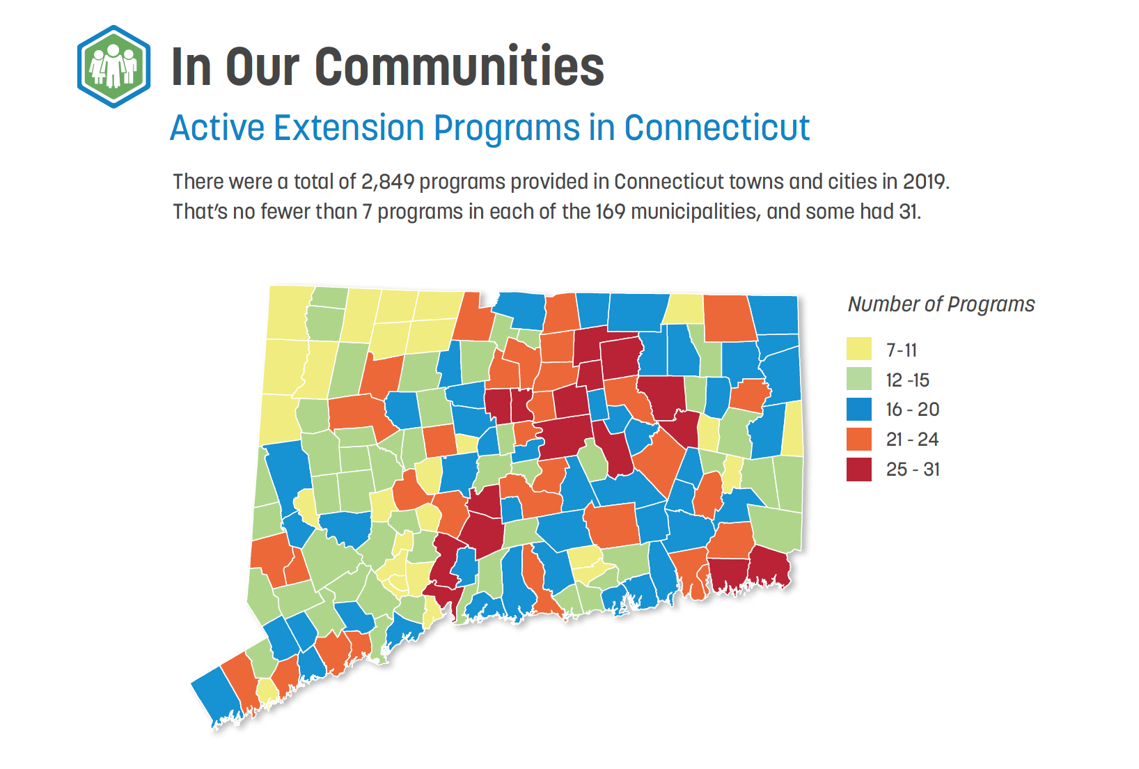 map of Extension programs in each town for 2019