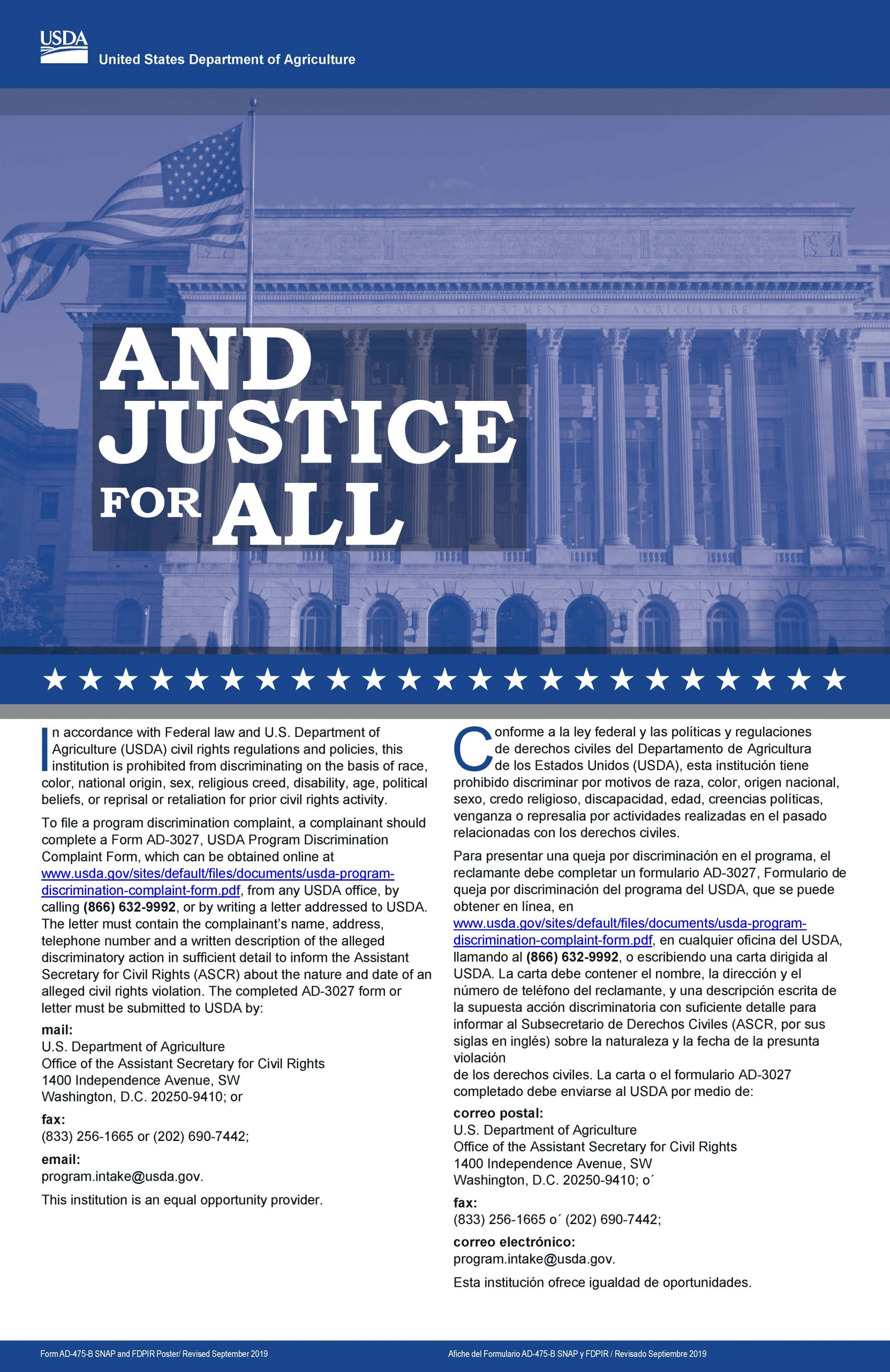 USDA Justice for All poster