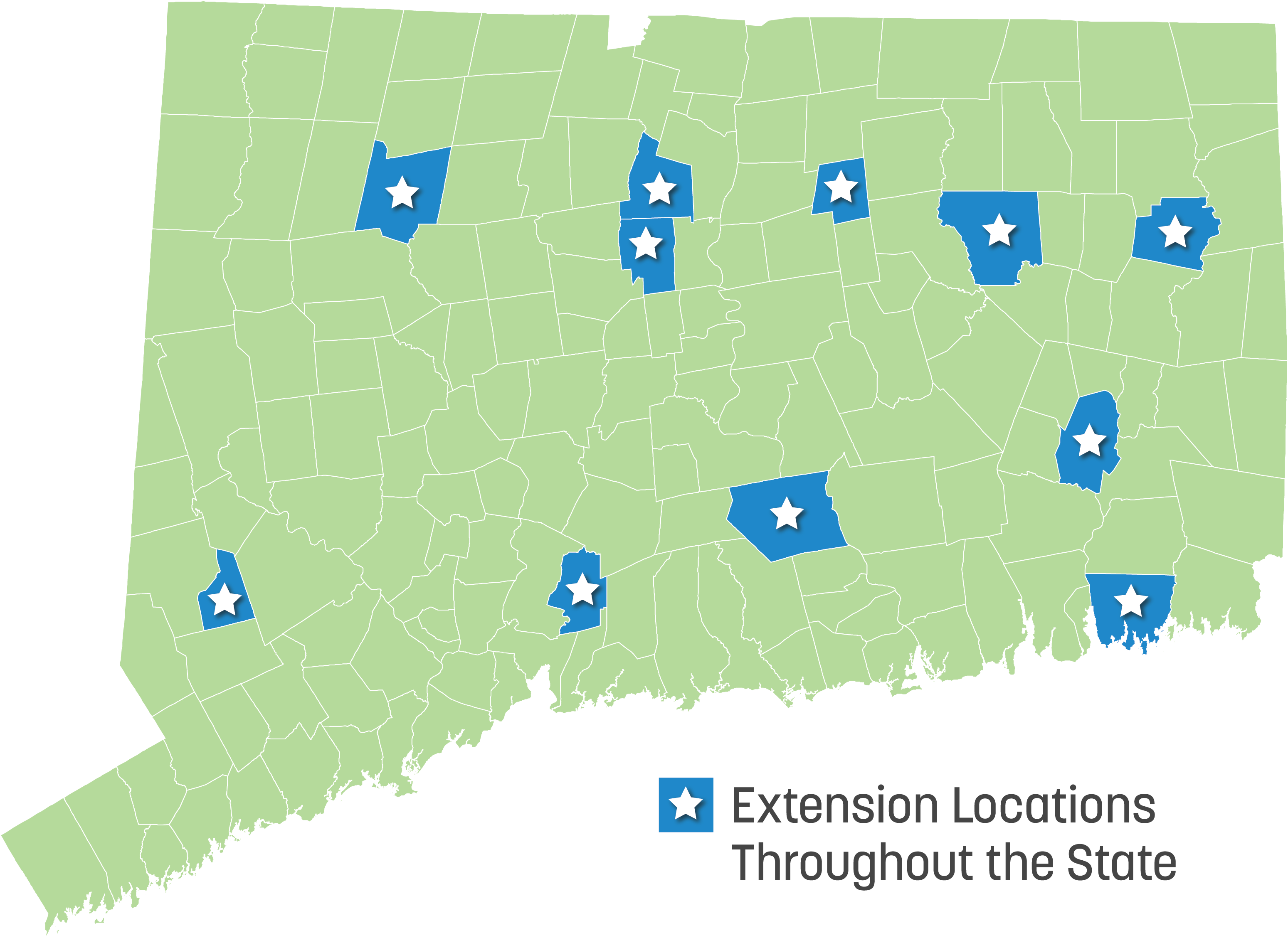map of Connecticut with star locations of Extension centers