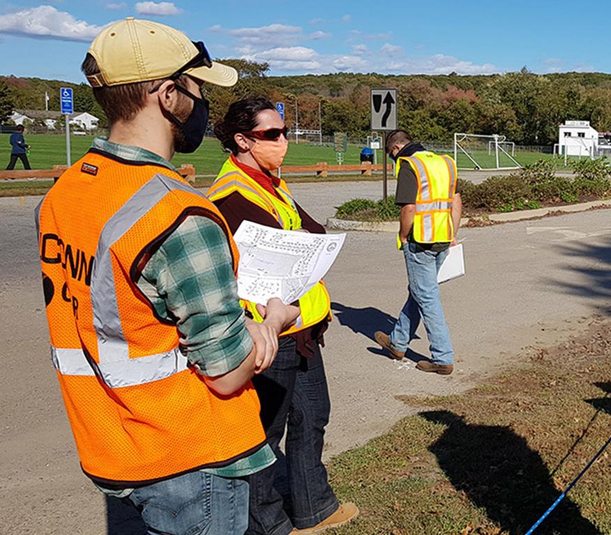 people assessing land