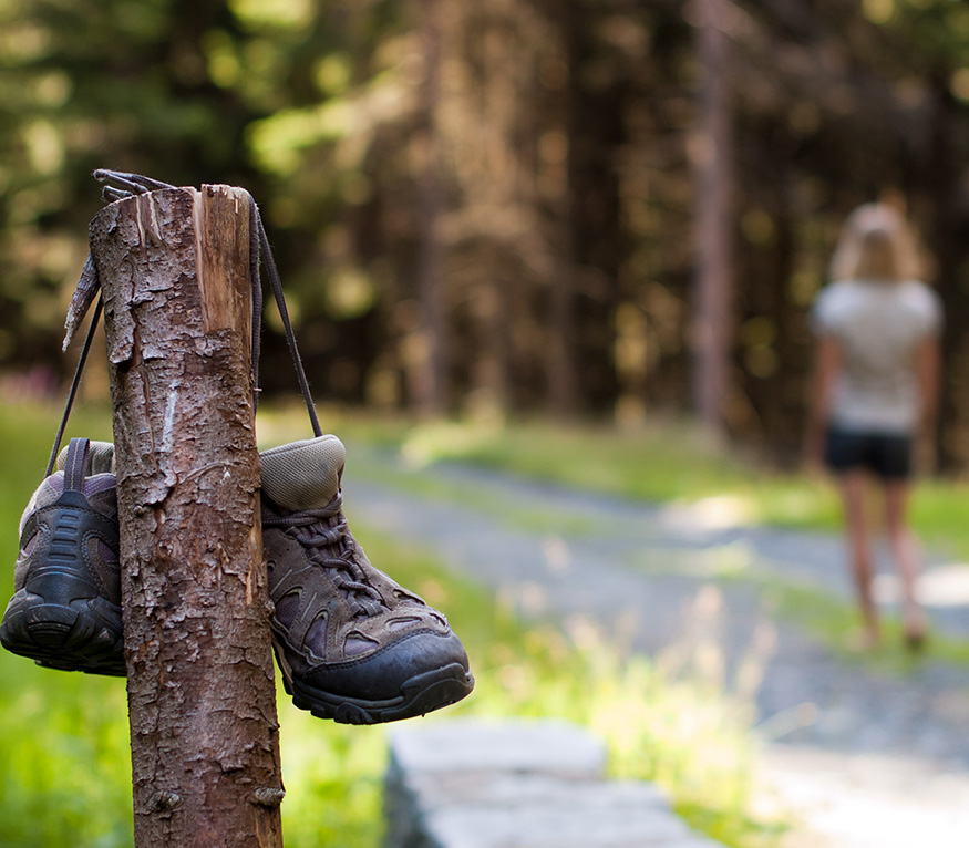 hiking boots on trail